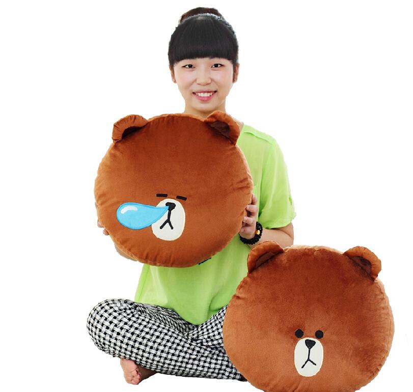 NEW Kawaii Cony Rabbit/Brown Bear Plush Pillows Toy for girls Hot sale Line App face Bunny and Chocolate Bear Cushin Pillow(China (Mainland))