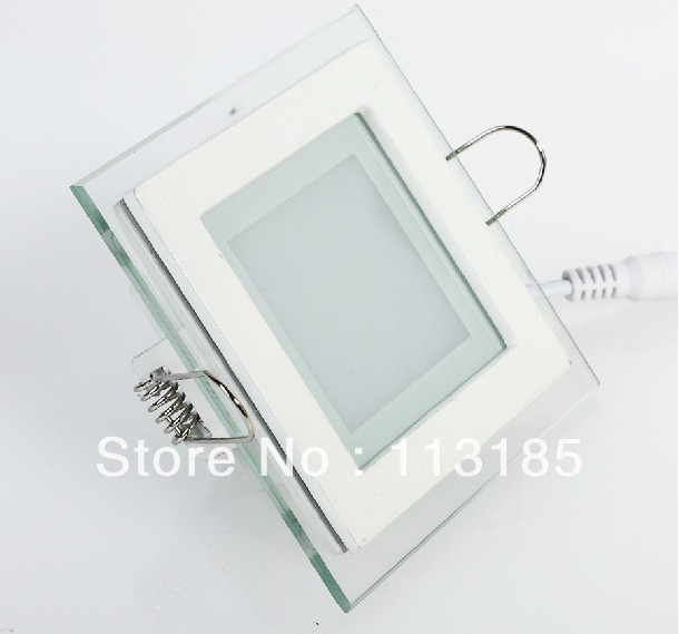 6W 600LM Glass Panel LED Ceiling Lamp SMD5730 High Brightness LED Ressessed Light Epistar Chip DHL Free Shipping(China (Mainland))