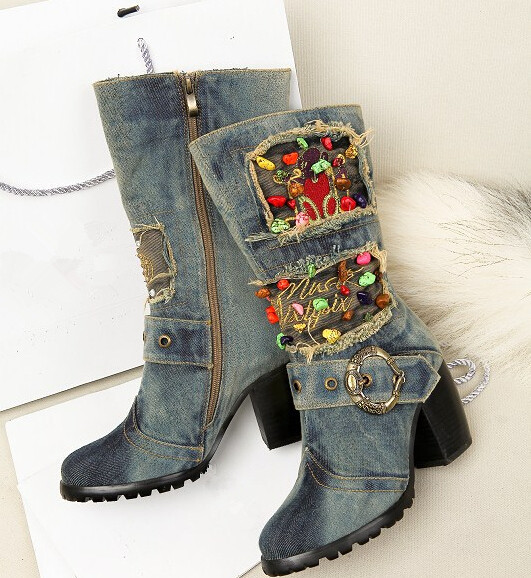 2017 Hot Sale Mid-calf Blue Jeans Boots Cute Multi Bead Stud Denim Boots For Girls Short Boots Female Cowboy Boots Shoes Woman(China (Mainland))