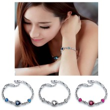 Hot New 2016 Fashion Cute Women Blue Crystal Rhinestone Heart Charm Bangle Bracelet Valentine's Gift W1(China (Mainland))