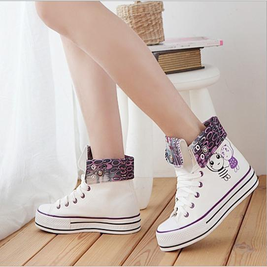 2014 Graffiti Fashion High Cut Women Canvas Shoes Academy Style Canvas Casual Stylish Girl