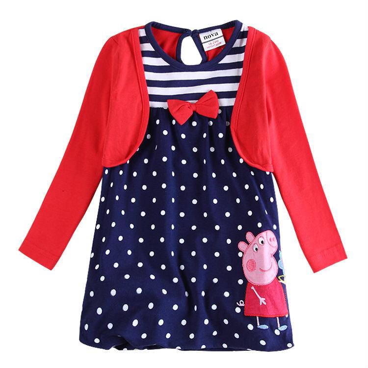 Гаджет  girl dress long sleeve girl party princess dress for girls clothes fashion novatx brand kids clothes cotton print dot baby dress None Детские товары