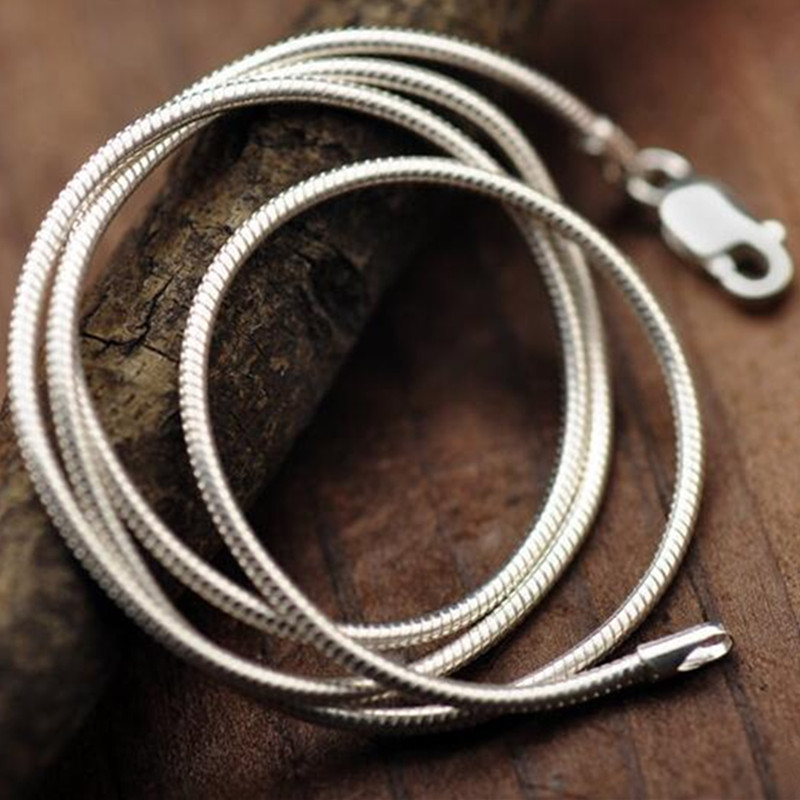 Silver Fashion Jewelry Snake Chain 2mm Necklace 16 18 20 22 24 inch Women Statement Necklace silver chain snake necklace 2mm(China (Mainland))