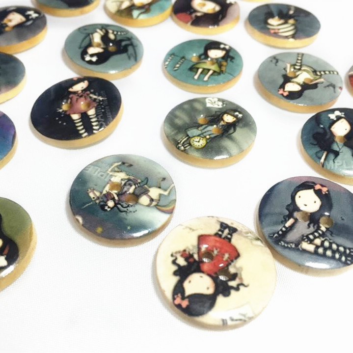 10pcs 25mm fashion Girl painted oil drip Wooden Buttons for Scrapbooking Craft Sewing ScrapbookingXP0412(China (Mainland))