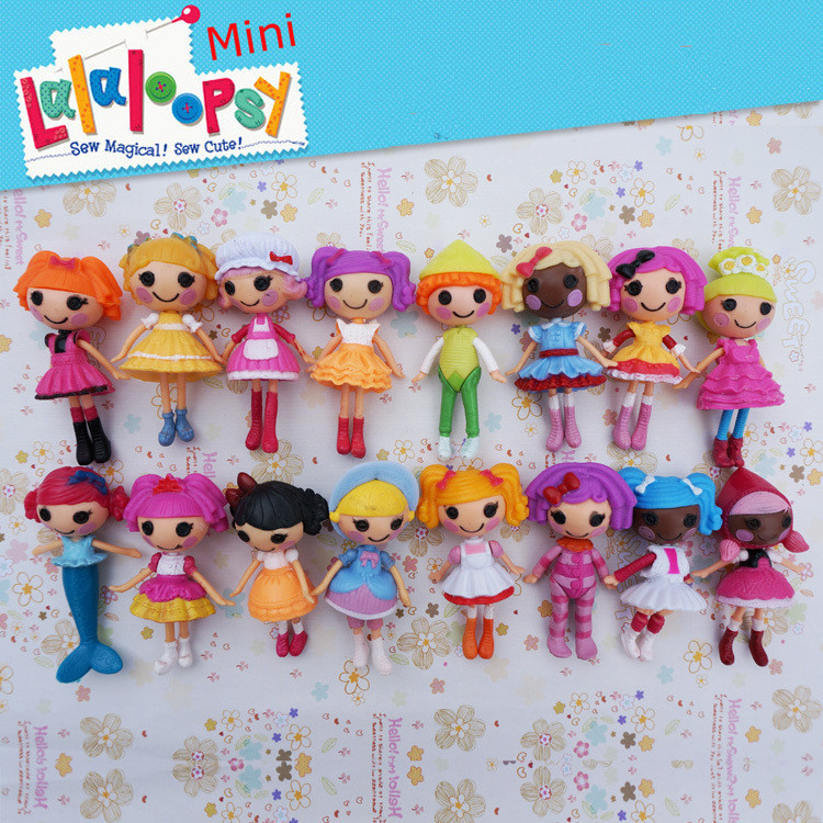2016 New button eyes mini Lalaloopsy dolls child birthday gift play house toys action collection figure kids toys for girls(China (Mainland))