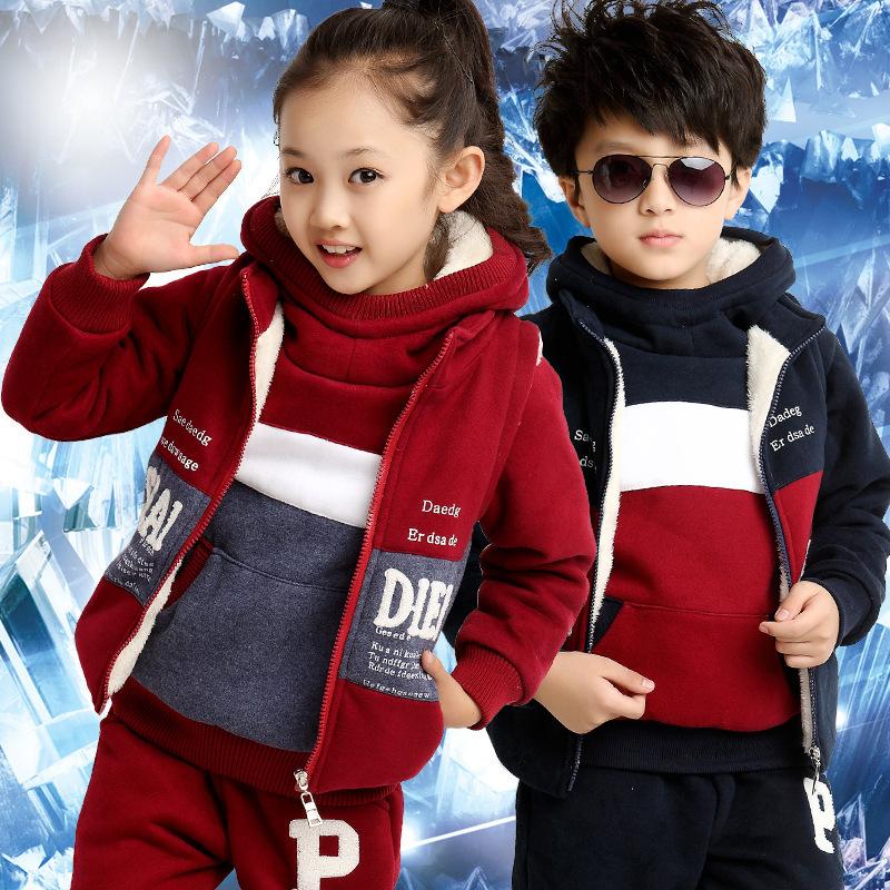 Vêtements pour enfants nouvelle hiver 2014 costume de sport garçons vêtements mis en velours épais 3 pcs robe enfants vêtements d'hiver livraison gratuite(China (Mainland))