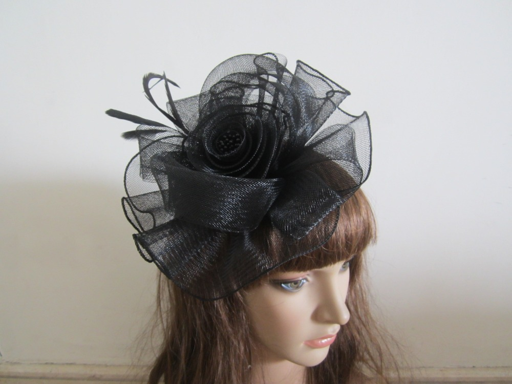 NEW!! BIG!! BLACK Wedding Feathers Flower Head Hair Fascinator Clips Fasinators(China (Mainland))