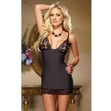 Buy 2016 New Women Lingerie Floral Bra Deep V Black White Stripes Dress Sexy Lace & Chiffon Nightwear Erotic Transparent Free Size
