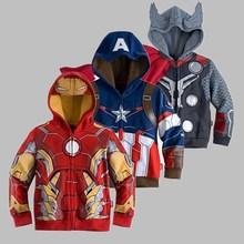 Caliente! capitán américa, the avengers, Iron Man niños Hoodies del muchacho de la camiseta del hombre araña para niños de manga larga Outwear niños niñas(China (Mainland))