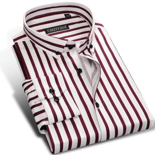 Модная Полосатая Хлопковая Мужская Нарядная Рубашка, Брендовая Тонкая Облегающая ...