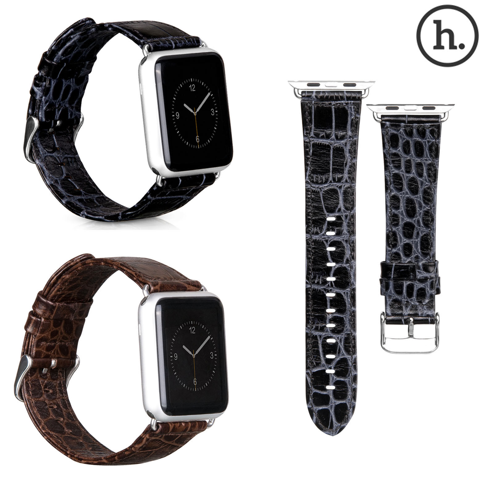 Original HOCO Crocodile Real Leather Strap Belt Classic Buckle Adapter Watch Band for Apple Watch Sport Edition 38mm/ 42mm(China (Mainland))