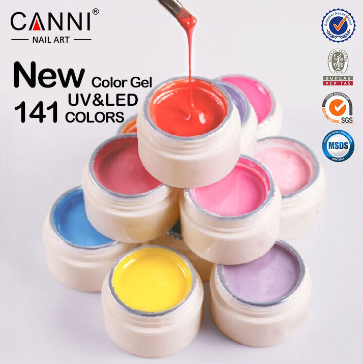 2015 Colors CANNI Solid Pure Glitter UV Soak Off Gel Paint Set Nail Art False Tips Salon Fashion Beauty Must Have 501-515(China (Mainland))