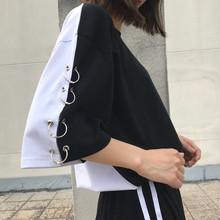 Buy Tee Shirt Femme 2017 Summer Fashion Shirt Top Woman Korean Ulzzang BF Harajuku Irregular Loose Short Sleeve T-shirt Women Tshirt for $11.28 in AliExpress store