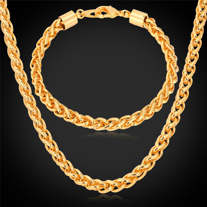 18K Gold Plated Chain For Men Jewelry Set Cool '18K' Stamp Wheat Spiga Chain Necklace Bracelet Set 6MM 55CM 22'' Wholesale NH751(China (Mainland))