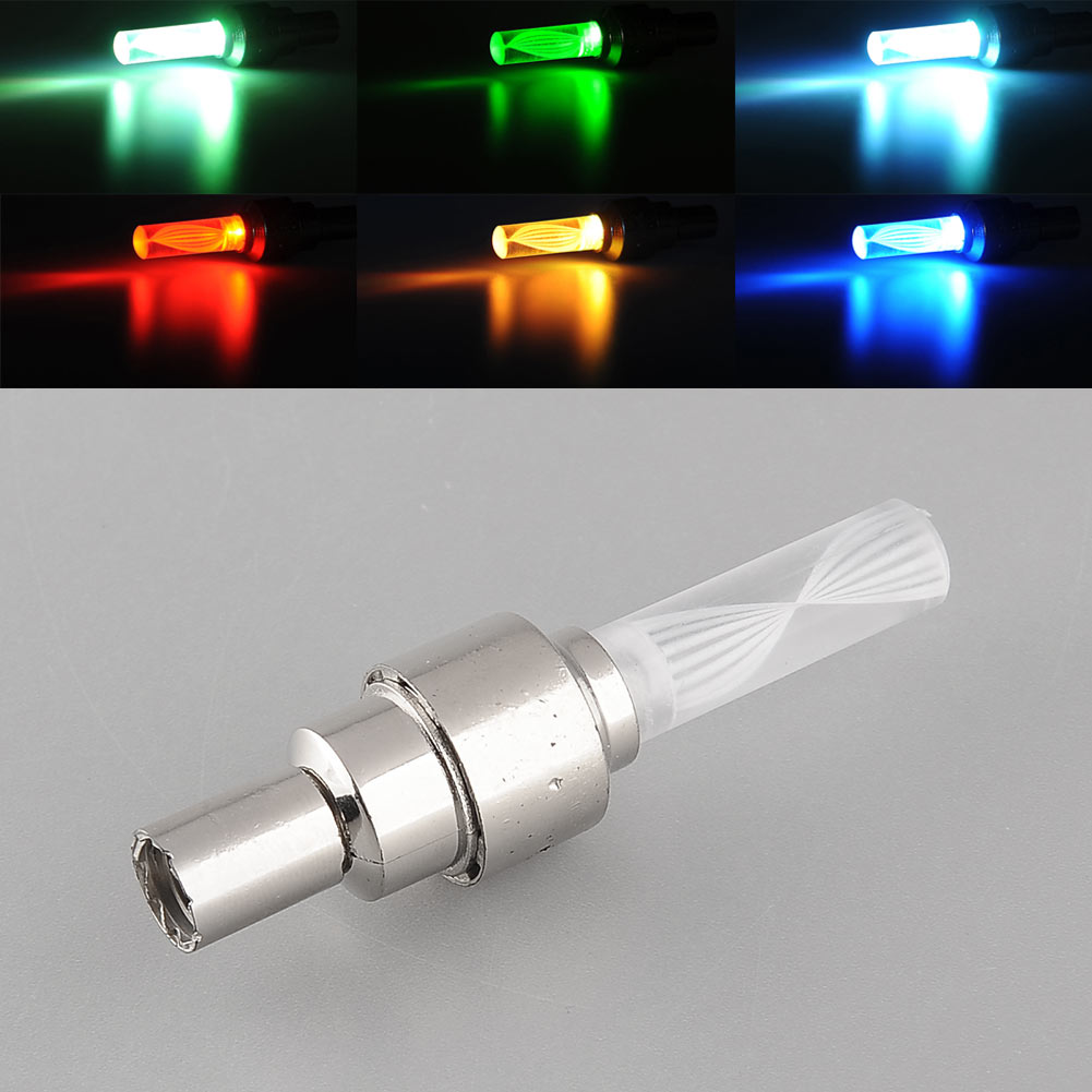 Bike Bicycle Car Wheel Tire Tyre Valve Cap Colorful LED Flashlight Night Flash Light Lamp Safety Drop Shipping(China (Mainland))