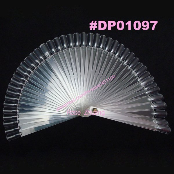 50 tips Fan-Shaped Nail Art Display Fan Clear Chart for Polish Gel Display Tool Manicure False Nails Tips Display F0026