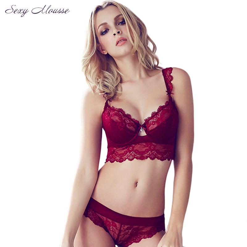 Women s Sexy Bra Set Ultra thin Red Lace Bra Brief Sets Plus size Brassiere Push