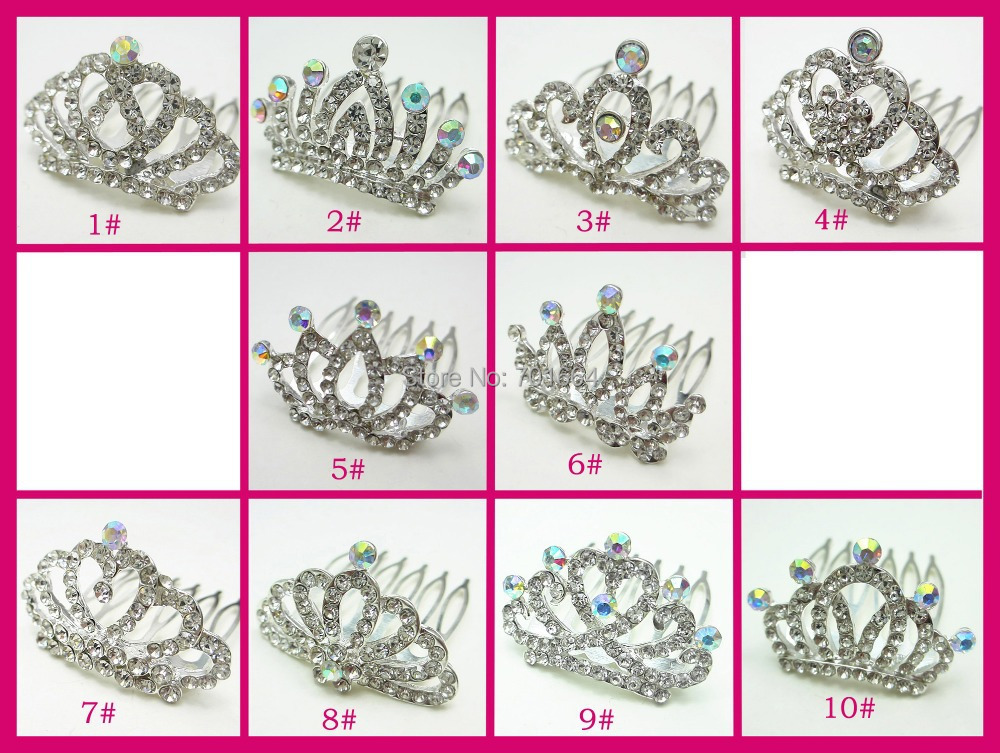 5PCS Height 2.5cm 3.5cm*4.0cm Mini Zinc Alloy Kids Tiaras and Crowns Comb With Crystal Stone, Assorted Styles(China (Mainland))