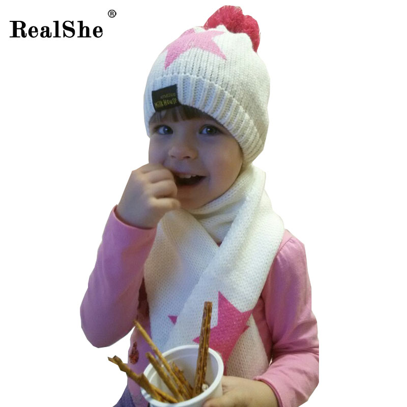 RealShe Baby Cap 2017 Beanie Hats With Ball Top Kids Accessories Winter Balaclava Baby Hat Caps Knit Hat Scarf Set(China (Mainland))