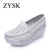 Breathable Comfortable Women's Flats 2015 New Arrival Genuine Leather Shoes Women Summer Spring Hollow Platform Boat Shoes(China (Mainland))