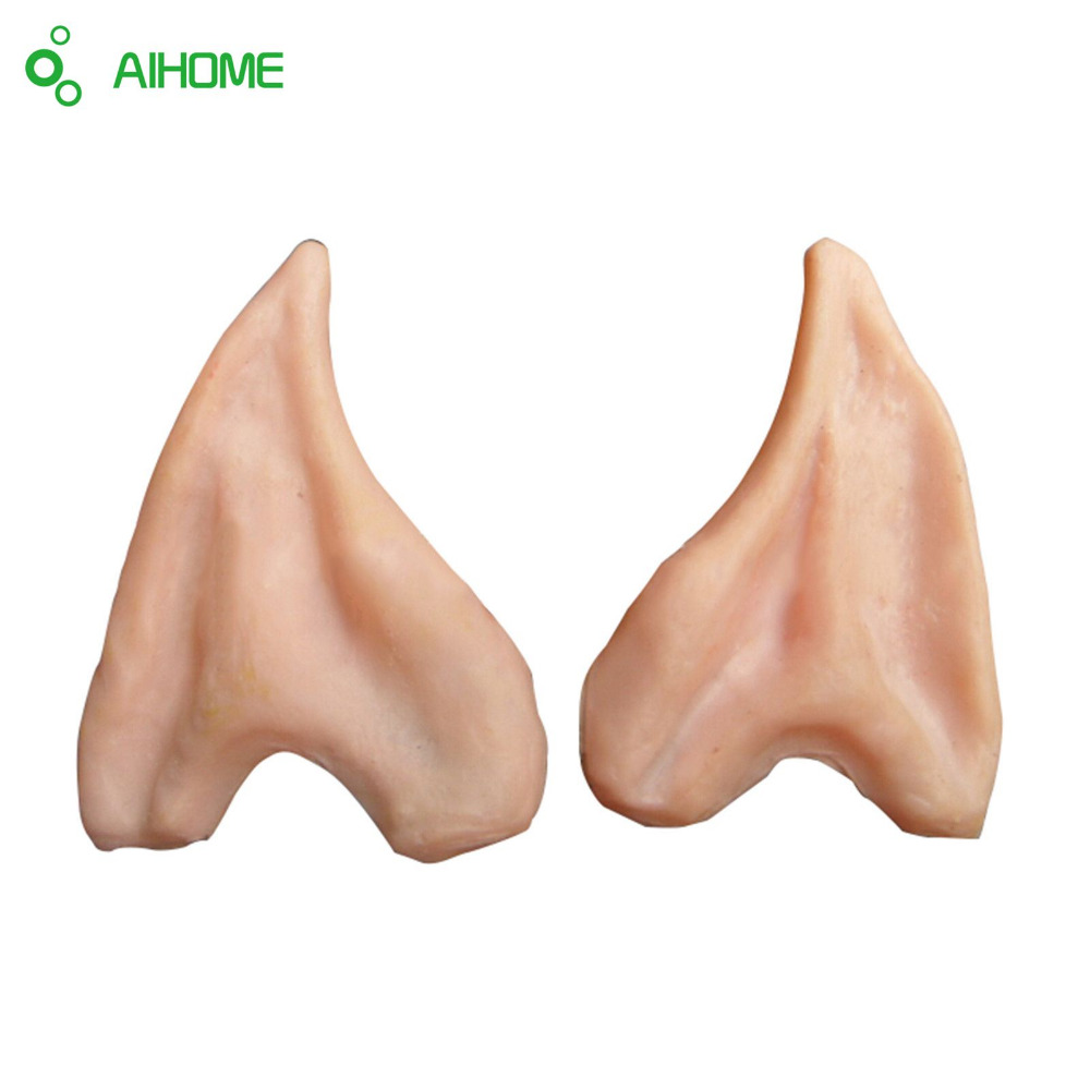 Halloween Cosplay Costume Funny Toys Latex Fairy Pixie Elf Ears Halloween Party Latex Soft Pointed Prosthetic Tips Ear