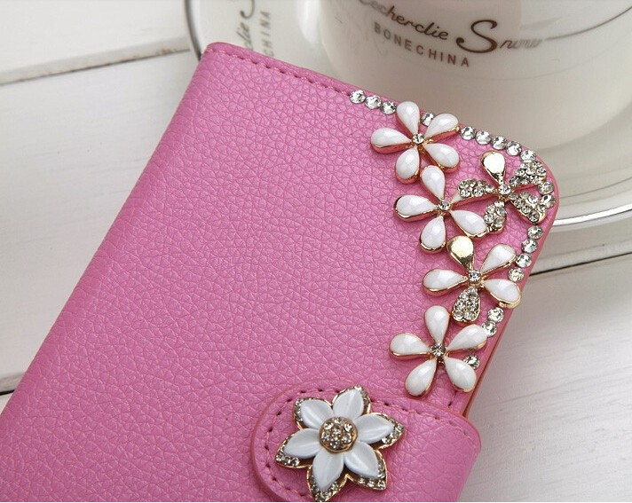 Rhinestone Litchi leather case For iphone 6 6s plus For HTC One M8 m9 For LG G3 G4 G5 For Galaxy Note3 Neo 7505 Note Edge N9150