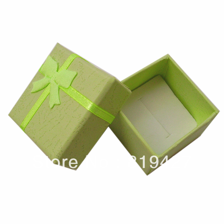 Free shipping Green Gift Paper Stripe Jewelry Boxes, Ring cases, Earring Box Size 4*4cm 24pcs/lot cheap China display Suppliers(China (Mainland))