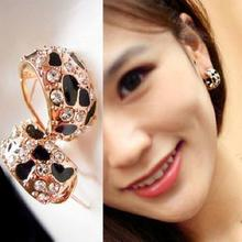 Free Shipping Exquisite Beautiful Shiny Rhinestone Crystal Leopard Stud Earrings for Women Jewelry E148(China (Mainland))