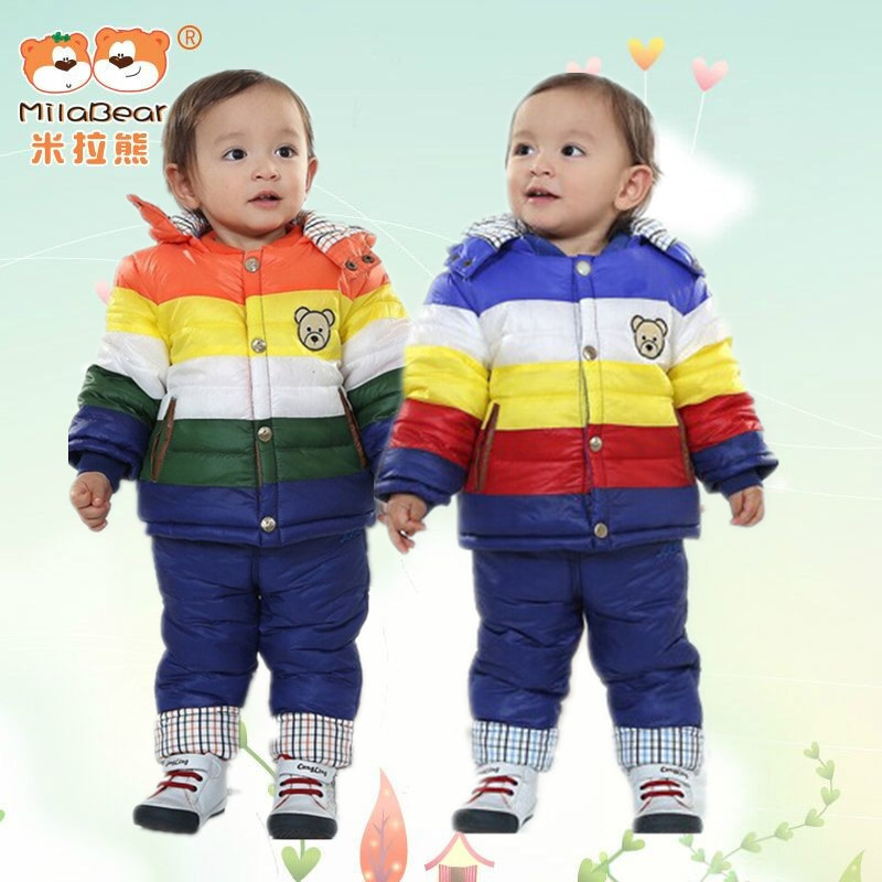 Milabear Milacubs Children's Wear 2015 Children's Winter Clothing Set Baby Boy Ski Suit Windproof Warm Hooded Coat+Pants 12-24M(China (Mainland))