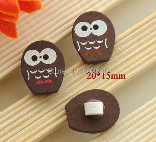 Night owl design wooden shank buttons for brooch pin ,sewing buttons,1-holes button(ss-551)(China (Mainland))