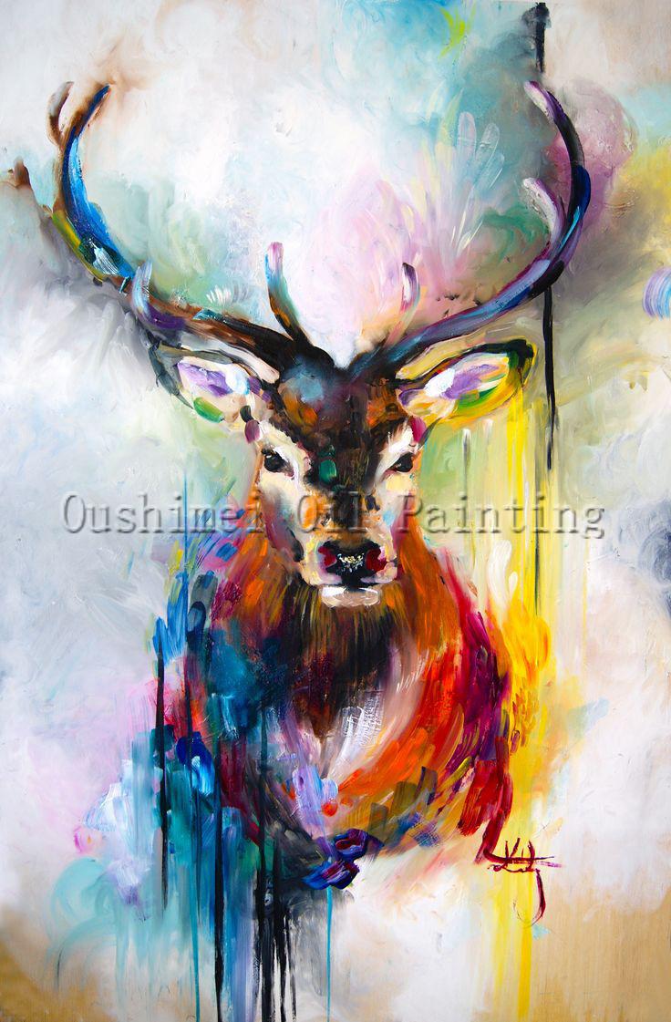 X Series 100Handmade Colorful Animal Deer Portrait Oil