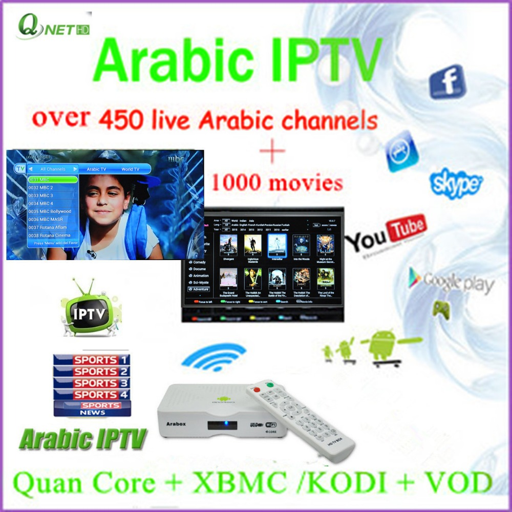 White Arabic Iptv Receiver TV Channels has Over 451 Channels 1000 Movies XBMC and VOD Functions(China (Mainland))