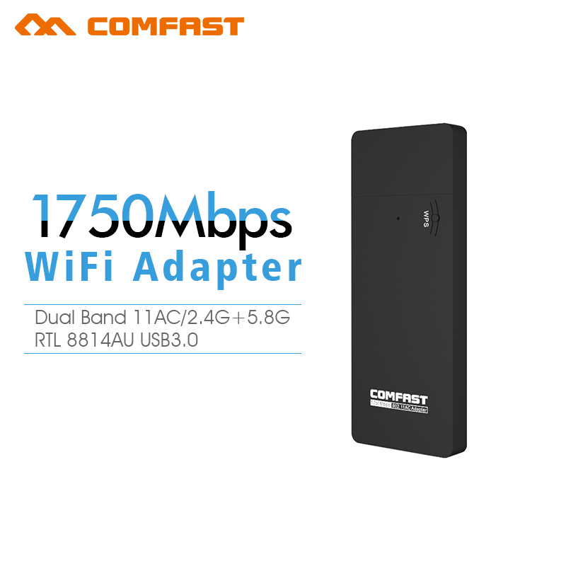5GHz+2.4GHz Comfast 1350 Mbps+450M USB Wireless WiFi WLAN Network AC Card Adapter Dual Band 802.11a/b/g/n Built-in Dual Antenna(China (Mainland))