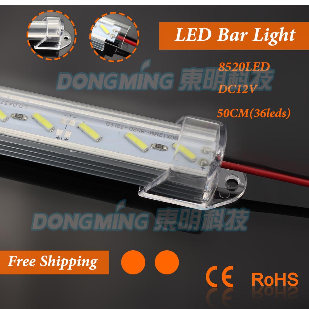 2pcs/lot U Aluminium Profile 8520 LED rigid Strip bar light 50cm 36leds 12V with pc cover for kitchen led under cabinet light(China (Mainland))