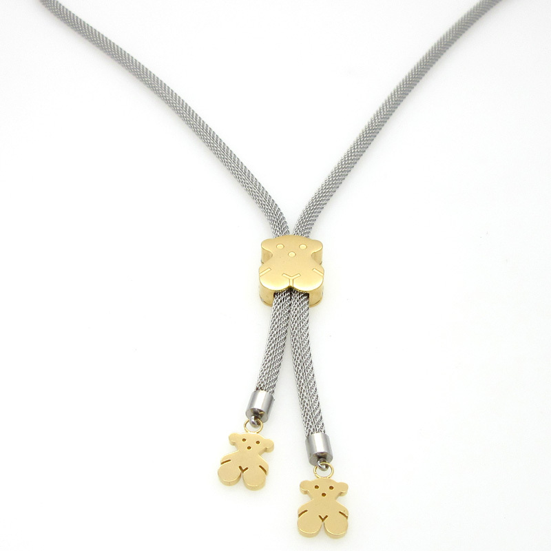 New 2015 High Quality Women Cute Little Bear Necklace Metal Mesh Chain Love Bear Necklaces Gold Plated Fashion Jewelry(China (Mainland))