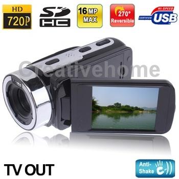 Hd-55e черный, 5.0 мега 16X зум цифровая видеокамера с 2.7 дюймов 16:9 TFT LCD HDTV 16 мега ( интерполяция )