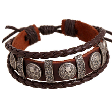 ER Male Brand Cool Genuine Leather Braided Friendship Skull Bracelet Homme Charms Biker Mens Multilayer Jewellery LB001 - JC cO.,Ltd store