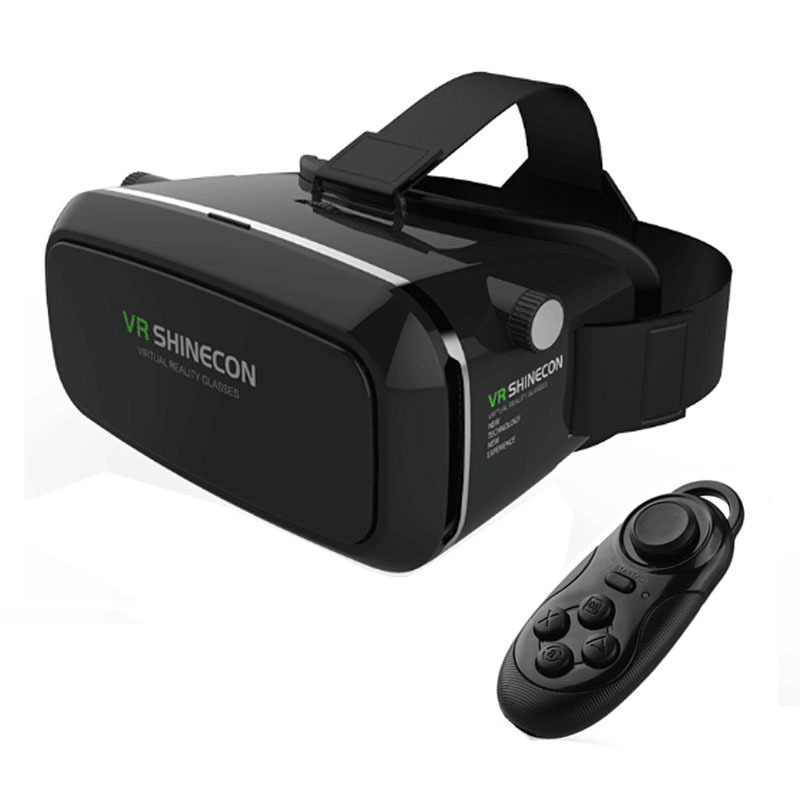 """VR Shinecon Virtual Reality 3D Movie Smartphone Game 3D Glasses Helmet 3 D VR Cardboard 4-7""""-6""""Smart Phone+ Bluetooth Controller(China (Mainland))"""