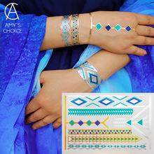 Waterproof Temporary Tattoo Metallic Gold Silver  Body Art Flash Tattoo Sticker Free Shipping For Turquoise Gold Bracelet