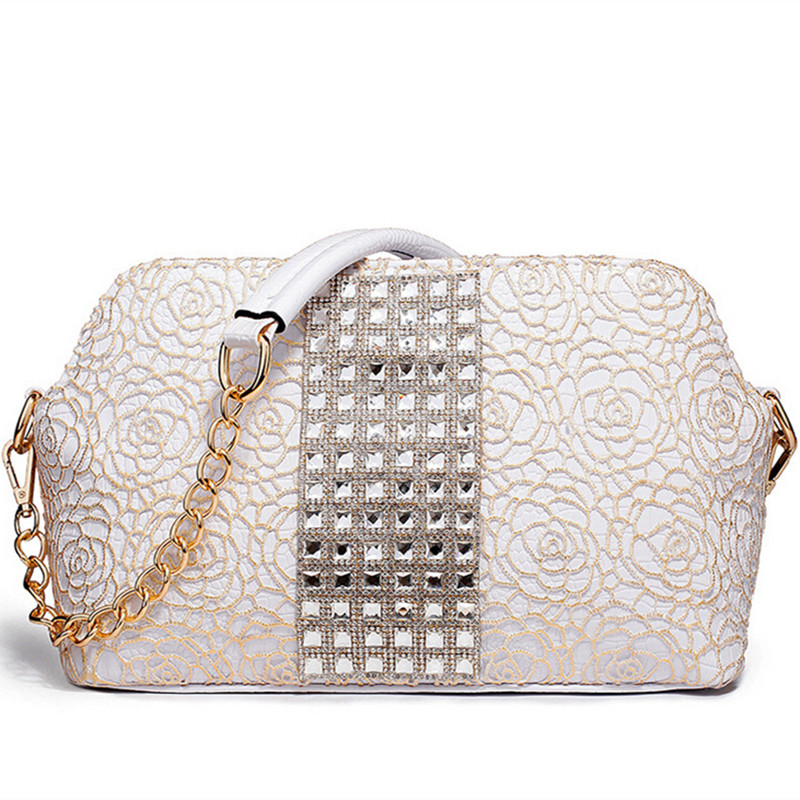 2016 Genuine Leather Women Messenger Bag Ladies Shoulder Bag Lace Fabric Hollow Out Cowhide Hobo Luxury Handbag for Women White(China (Mainland))