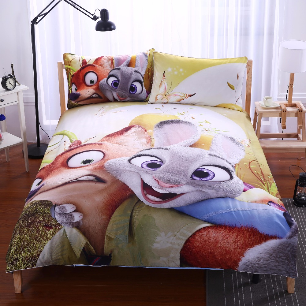 Zootopia Yellow Kids Bedding Set Zootropolis Gift Duvet Cover Judy and Nick Home textiles Twin Full Queen King Hot drap de lit(China (Mainland))