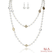 Pearl Necklaces Super Long Beads Necklaces Duplex Loops Long Necklaces Women Brand A&A Jewelry(China (Mainland))