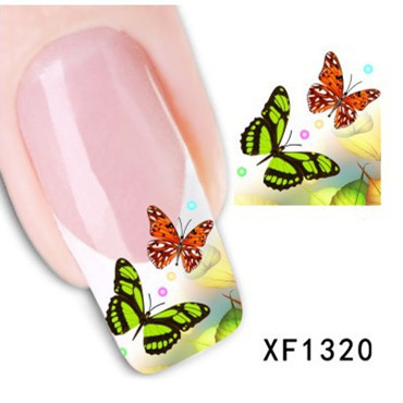 Гаджет  1 Sheet Water Transfer Nail Art Sticker Decal Multi Color Butterfly Design Half Wraps French Manicure Tools  None Красота и здоровье
