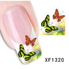 1 Sheet Water Transfer Nail Art Sticker Decal Multi Color Butterfly Design Half Wraps French Manicure