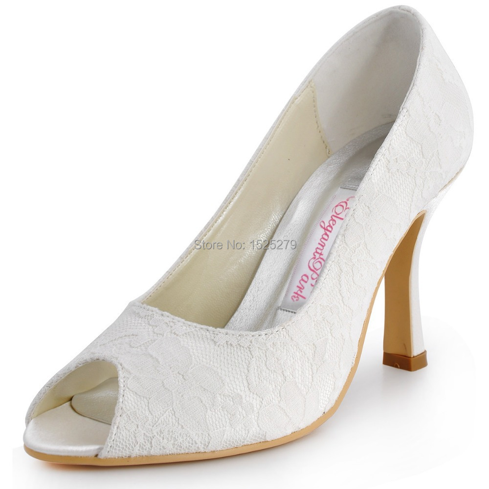 Custom Made EP11013-35 White Ivory Women Peep Toe High Heel 3.5 Prom Evening Party Pumps Satin Lace Lady Bridal Wedding Shoes<br><br>Aliexpress