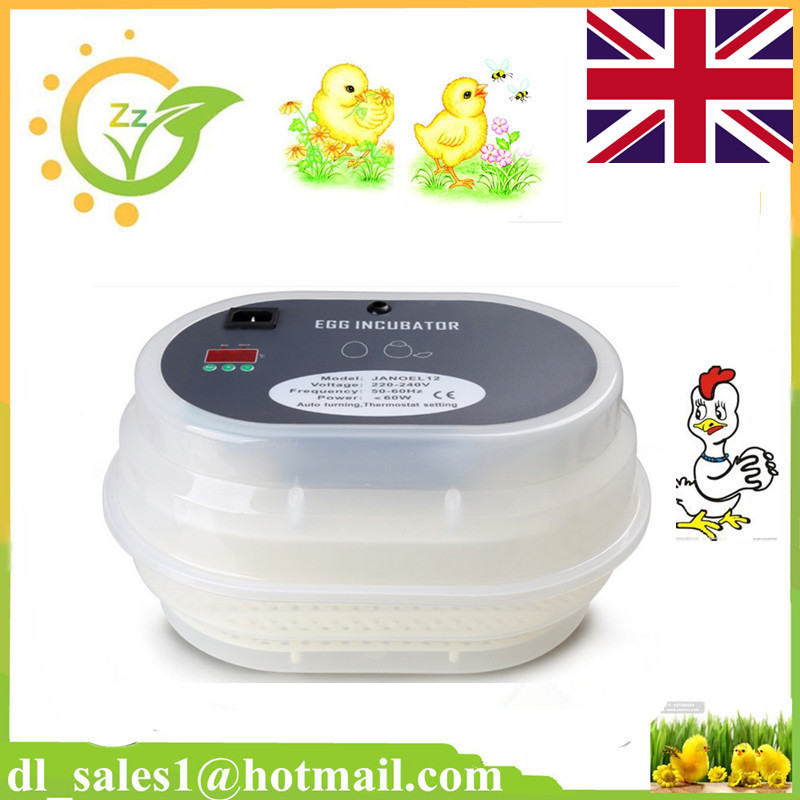 2016 New Digital Full Automatic 12 Eggs Incubator Poultry Turner Quail Duck Incubator Hatcher+Spare Candle Gift Fast Shipping(China (Mainland))