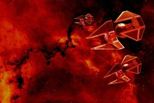 Sci-fi alien planet war destruction and laser satellite cloth silk art wall poster and prints