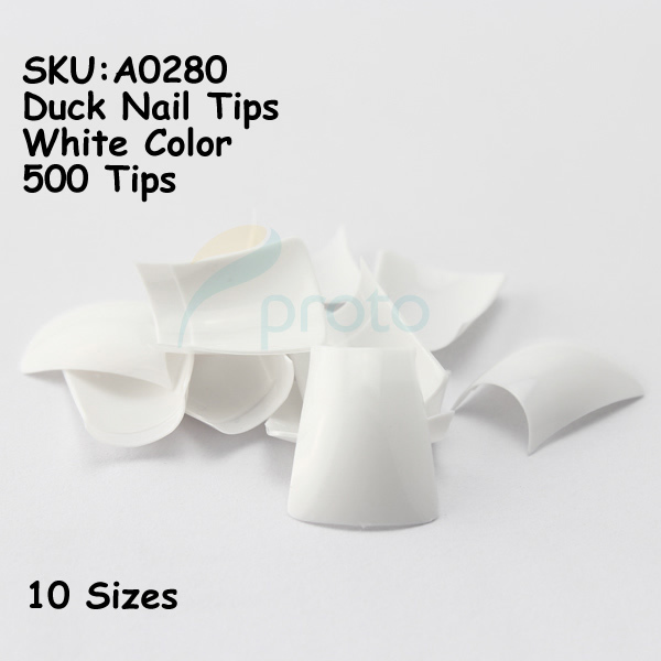 Flared White Tip Nails 500 White Duck Nail Tips Wide