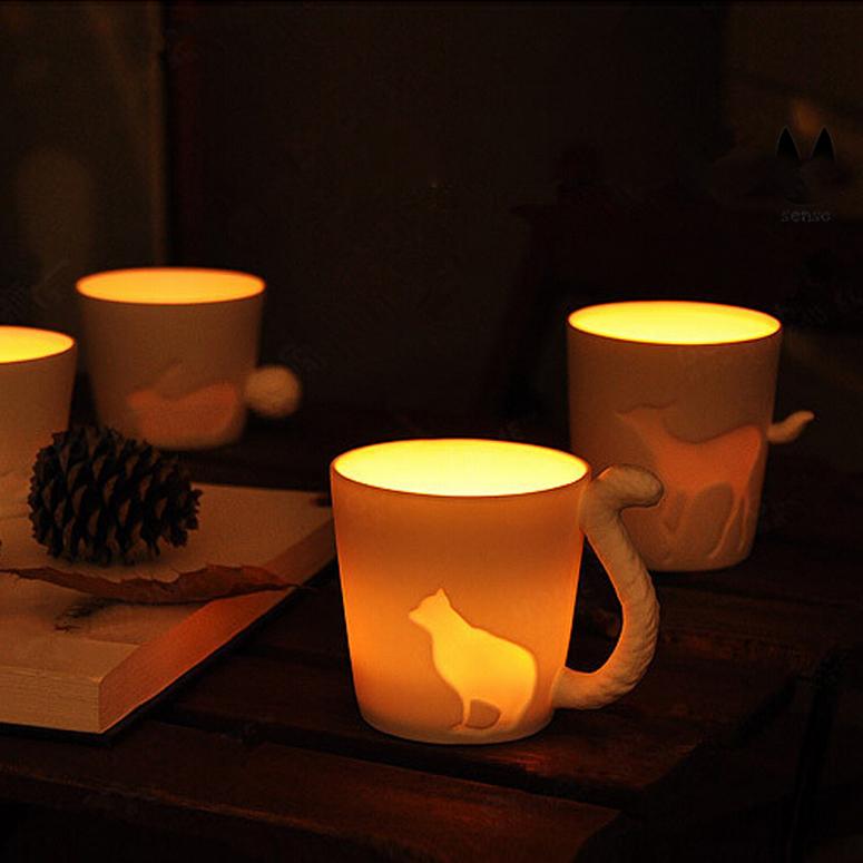 ZAKKA Ceramic mug cup white cat/rabbit/squirrel/fawn animal milk cup Lovers Mug Cute Birthday Gift,Christmas Gift(China (Mainland))