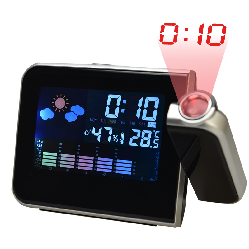 New Hot Projection LED Lcd Digital Alarm Clock with Calendar Humidometer Thermometer Projection Clocks wholesale(China (Mainland))